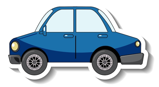分離された青い車とステッカーテンプレート