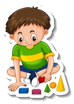 Шаблон стикера с изолированным персонажем мультфильма мальчика