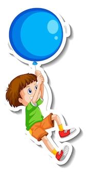 分離された大きな風船で飛んでいる男の子とステッカーテンプレート