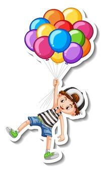Шаблон стикера с мальчиком, летящим со многими изолированными воздушными шарами