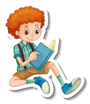 Шаблон стикера с мальчиком, читающим книгу, мультяшный персонаж изолирован