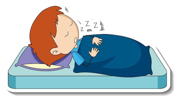 Шаблон стикера с мальчиком, спящим на изолированной кровати Бесплатные векторы