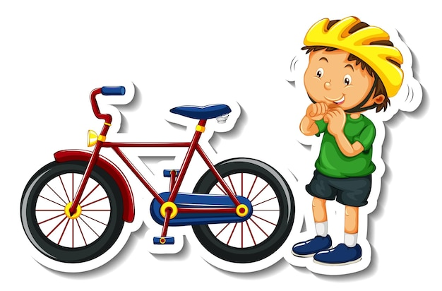 소년이 있는 스티커 템플릿은 헬멧과 자전거를 격리합니다.