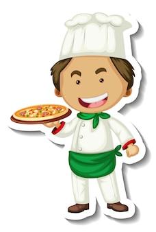 요리사 남자가 있는 스티커 템플릿은 격리된 피자 트레이를 보유하고 있습니다.