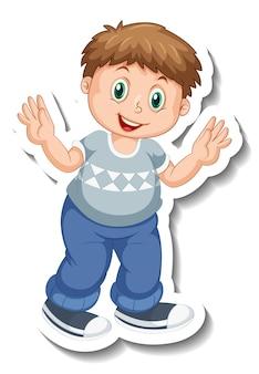 고립 된 통통한 소년 만화 캐릭터와 스티커 템플릿