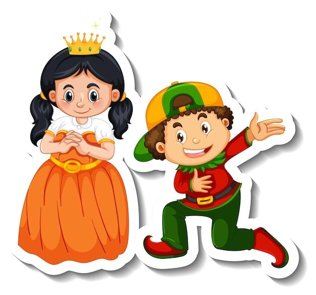 分離されたカップルの子供の漫画のキャラクターとステッカーテンプレート