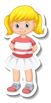 分離されたかわいい女の子の漫画のキャラクターとステッカーテンプレート