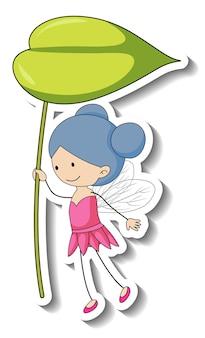 分離された葉を保持している妖精の漫画のキャラクターとステッカーテンプレート