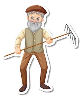 정원사 노인이 있는 스티커 템플릿은 분리된 갈퀴 원예 도구를 보유하고 있습니다.