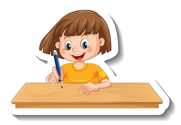 分離された女の子の漫画のキャラクターとステッカーテンプレート