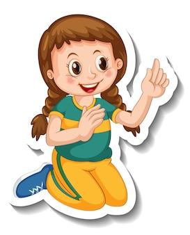 Шаблон стикера с изолированным персонажем мультфильма девушка