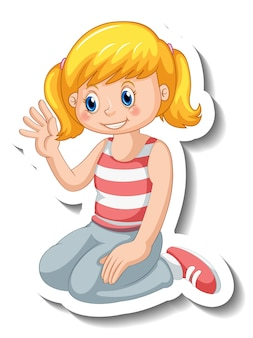 고립 된 소녀 만화 캐릭터와 스티커 템플릿