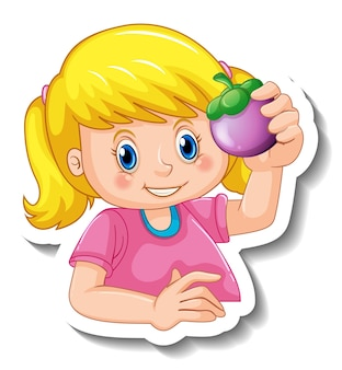 고립 된 소녀 만화 캐릭터의 뒤에 스티커 템플릿