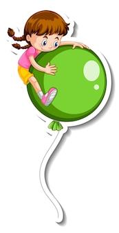 Шаблон стикера с девушкой, летящей с множеством изолированных воздушных шаров