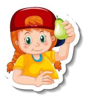 分離された梨を保持している女の子とステッカーテンプレート