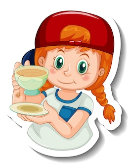 女の子とステッカーテンプレートは、分離されたお茶の漫画のキャラクターのカップを保持します