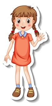 孤立した立ちポーズの漫画のキャラクターの女の子とステッカーテンプレート