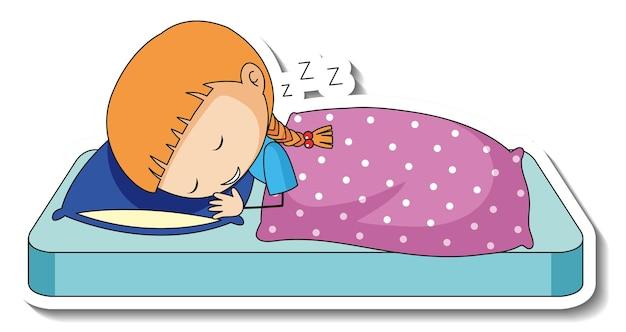 고립 된 만화 캐릭터를 자고있는 소녀와 스티커 템플릿