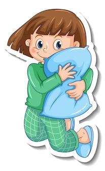 分離されたパジャマを着ている女の子とステッカーテンプレート
