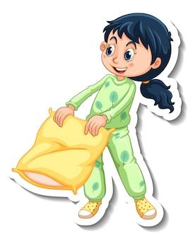 女の子とステッカーテンプレートは、分離されたパジャマ漫画のキャラクターを着ています