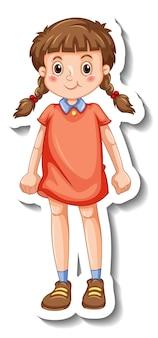 孤立した立っている位置の漫画のキャラクターで幸せな女の子とステッカーテンプレート