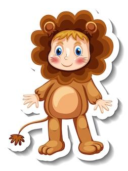 分離されたライオンのマスコット衣装を着ている子供とステッカーテンプレート