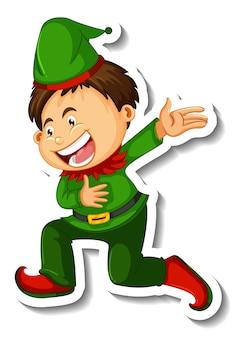 分離された小さなエルフの男の子の漫画のキャラクターとステッカーテンプレート