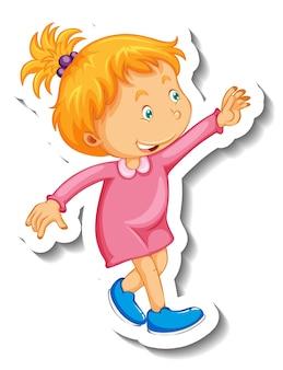 고립 된 어린 소녀 만화 캐릭터와 스티커 템플릿