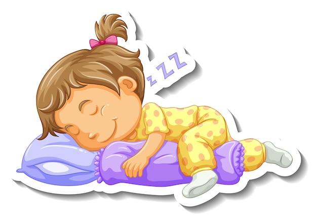 Шаблон стикера с маленькой девочкой, спящей мультяшным персонажем, изолированной