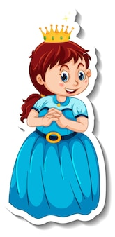 Шаблон стикера с изолированным персонажем мультфильма маленькой принцессы