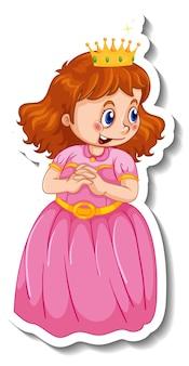 分離された小さな王女の漫画のキャラクターとステッカーテンプレート