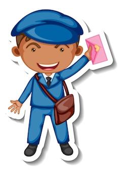 分離された郵便配達の漫画のキャラクターとステッカーテンプレート