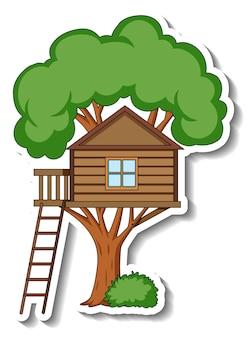 Шаблон стикера с изолированным домом на дереве