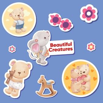 愛らしい動物のコンセプト、水彩スタイルのステッカーテンプレート