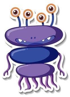 Modello di adesivo con un personaggio dei cartoni animati di mostro alieno isolato