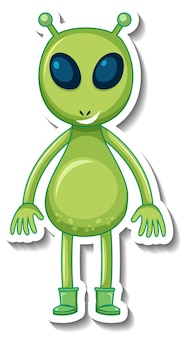 Sticker template with an alien monster cartoon character isolated