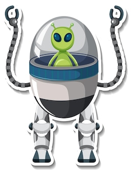 Sticker template with an alien monster in ufo robot isolated