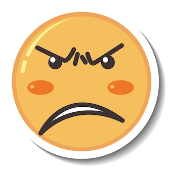 A sticker template with angry face emoji isolated