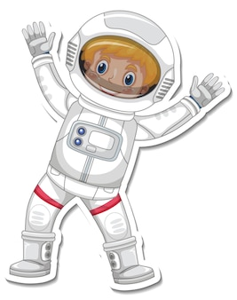 A sticker template with an astronaut cartoon character isolated
