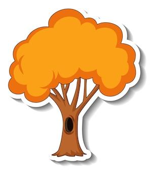 Шаблон стикера с изолированным осенним деревом