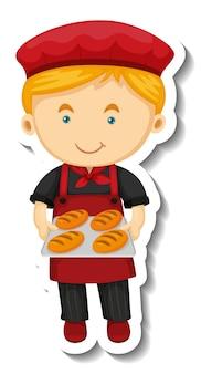 Il modello dell'autoadesivo con un ragazzo del fornaio tiene il vassoio al forno isolato