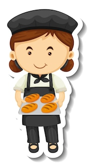 Sticker template with a baker girl holds baked tray isolated