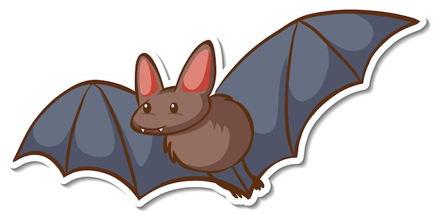 A sticker template with a bat cartoon character isolated