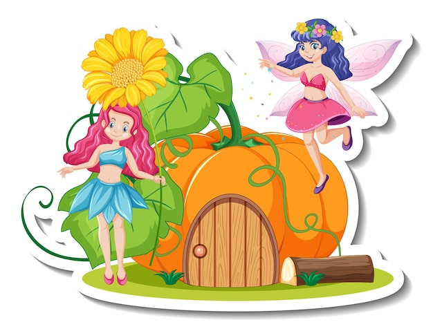 A sticker template with beautiful fairies cartoon character