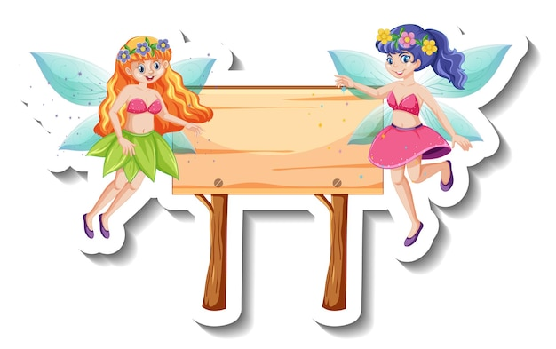 A sticker template with beautiful fairies and wooden sign
