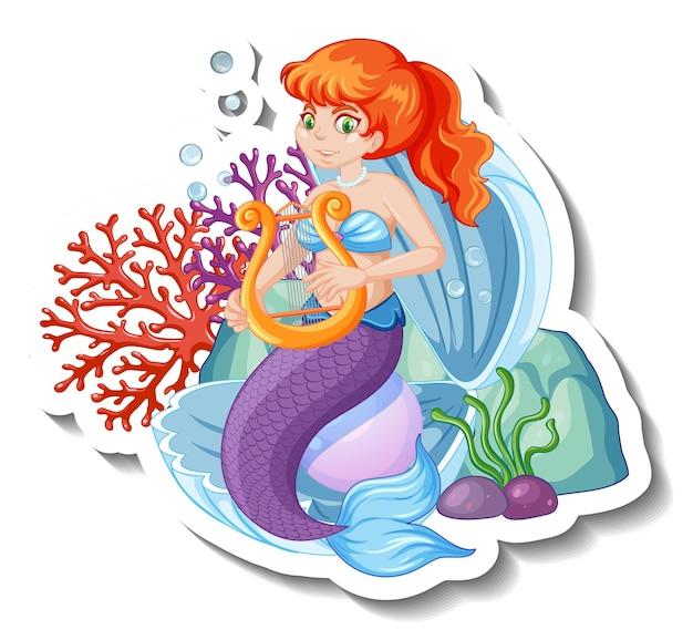 Un modello di adesivo con un bellissimo personaggio dei cartoni animati sirena