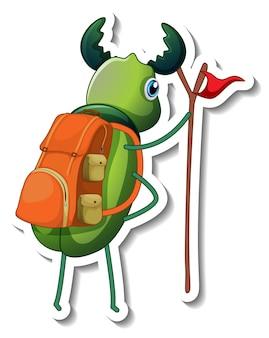 Шаблон стикера с изолированным персонажем из мультфильма `` жук ''