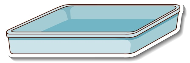 Un modello di adesivo con vassoio vuoto isolato