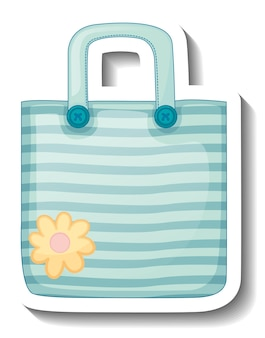 A sticker template with a blue handbag isolated