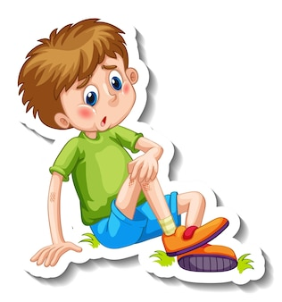 Sticker template with a boy cartoon character isolated